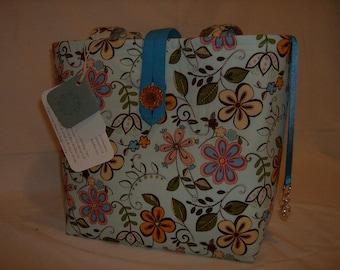 Fun, Festive Flowers in Blue Handbag