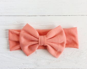 Baby bow headband coral headband newborn headband infant headbands baby headwrap headband turban headband big bow headband