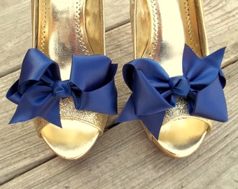 Wedding Shoe Clips, Bridal Shoe Clips, Satin Bow Shoe Clips, Navy Blue Shoe Clips, Navy Blue Bows, Shoe Clips for Wedding Shoes,