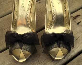 Shoe Clips, Wedding Shoe Clips, Bridal Shoe Clips, Organza Shoe Clips, Bridal Accessories,Black Shoe CLips, Shoe Clips Only