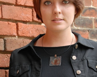 Post Apocalyptic Pendant Cool Copper Necklace Enamel Pendant Reversible Funky Square Necklace