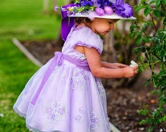 0fded77d2bd Easter Bonnet - Tea Party Hat - Flower Girl Hat - Girls Sun Hat - Wedding  party