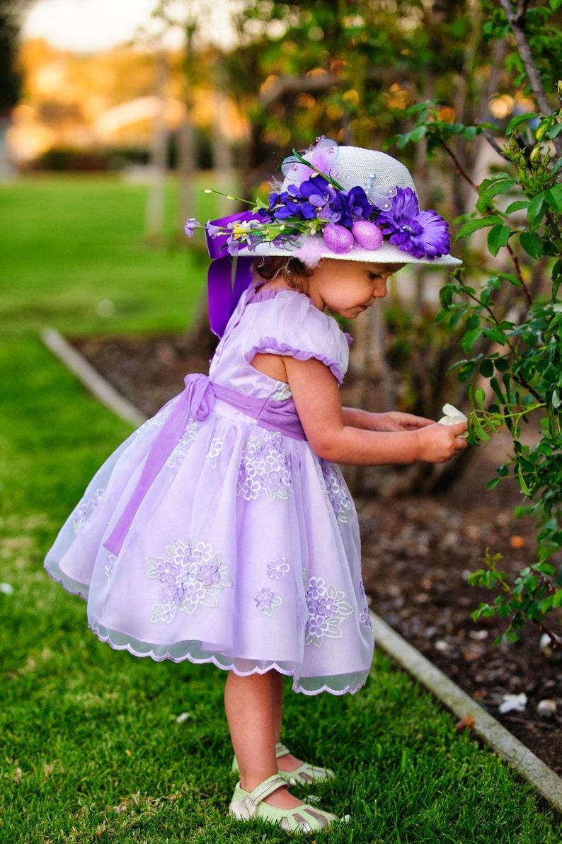 Easter Bonnet Tea Party Hat Flower Girl Hat Girls Sun  bdeccff96f5a