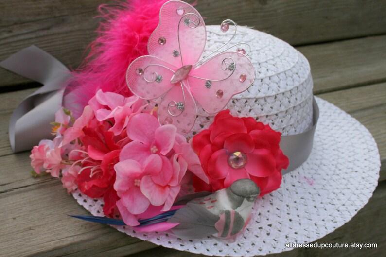 Easter Bonnet Tea Party Hat Flower Girl Hat Derby Hat  e719fb3ff223