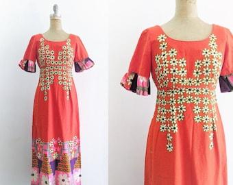Vintage 1970s Maxi Dress Flower Power Dress Hippie Dress 70s Dress 60s Dress 70s Bright Floral Maxi Dress Orange Maxi Dress XS Small