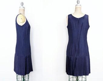 Vintage Drop Waist Dress Vintage Tennis Dress 80s Drop Waist Dress 20s Dress Flapper Dress 80s Navy Dress 20s Navy Dress Small Medium 6 8