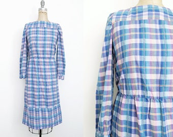 Vintage 1970s 1980s Plaid Prairie Dress Rainbow Plaid Dress Blue Plaid Dress Vintage Prairie Dress Plaid Midi Dress Small 4 6