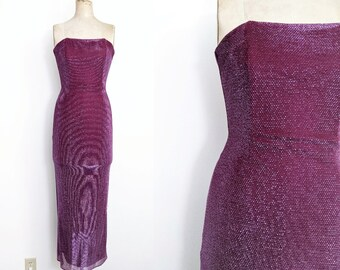 Vintage 1990s Red Sparkly Dress 90s Prom Dress Strapless Prom Dress Jessica Rabbit Dress Red Metallic Dress Jessica McClintock Gunne Sax XS