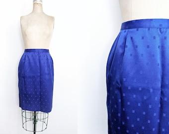 Vintage 1980s 1990s Royal Blue Pencil Skirt Geometric Pencil Skirt 90s Skirt 80s Skirt Patterned Pencil Skirt Purple Pencil Skirt Size 12 L