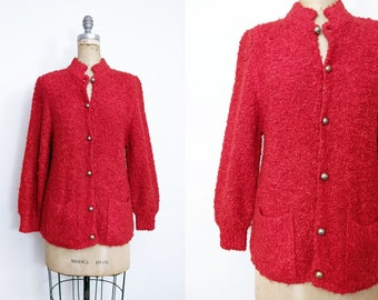 Vintage 1980s Fuzzy Red Cardigan Red Lambswool Cardigan Red Teddy Cardigan 1980s Wool Cardigan Size Medium