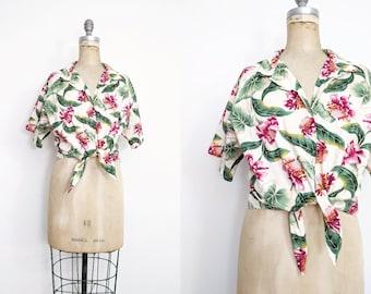 Vintage 1990s Women's Cropped Hawaiian Tie Waist Shirt Cropped Hawaiian Shirt Tropical Shirt Pink Green 90s Hawaiian Shirt Large XL XXL