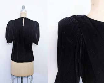 Vintage 1930s Black Velvet Top 40s Velvet Top Shirt 40s Shirt Black Velvet Shirt 1940s 1930s Black Velvet Blouse Puff Sleeve Medium Large