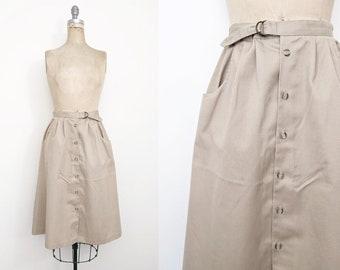 Vintage 1980s Khaki Midi Skirt Khaki Tea Length Skirt Girl Scout Skirt Troop Beverly Hills Tan Midi Skirt Cargo Skirt Small 4 6