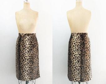 Vintage Faux Fur Leopard Skirt Leopard Pencil Skirt Cheetah Skirt Leopard Print Skirt Faux Fur Skirt Jaguar Skirt Plus Size Size 2X Size 22