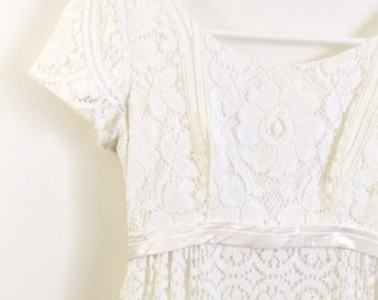 Vintage 1960s Wedding Dress Emma Domb White 60s Gown Lace Empire Waist XS Small Pe