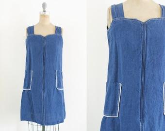 Vintage Denim Jumper Dress 90s Denim Dress 80s Denim Dress 70s Denim Dress Jean Jumper Denim Dress Jean Dress Linen Jumper Si