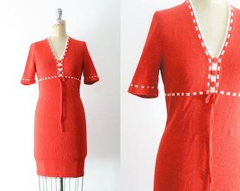 Vintage 1970s Orange Knit Dress 70s Orange Dress 70s Knit Dress Peasant Dress Pumpkin Dress Pumpkin Costume Small Medium Size 6 Size