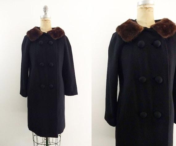 Vintage 1950s 1960s Black Wool Coat Fur Collar 50s