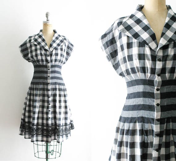 Vintage 1950s Style Black and White Gingham Dress