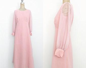 Vintage 1970s 1980s Pink Party Dress Pink Princess Dress Sheer Sleeve Dress 70s Prom Dress 80s Prom Dress Pink Formal Dress Large 10 12 14