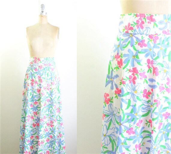 Vintage 1970s Floral Maxi Skirt 70s Skirt 70s Maxi