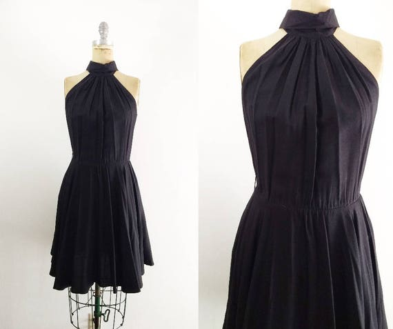 Vintage 1980s 1990s Black Halter Dress Halter Coc… - image 1