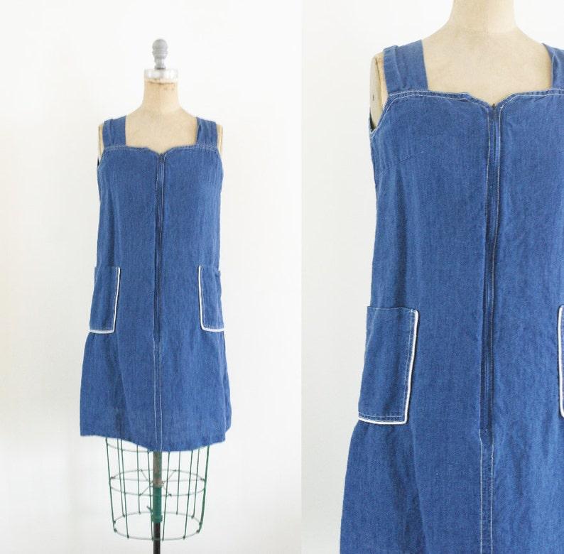 bac711f2358 Vintage Denim Jumper Dress 90s Denim Dress 80s Denim Dress 70s