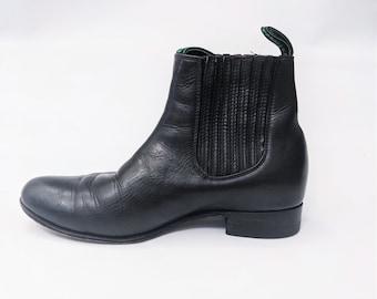 Campero Black Leather Short Cowboy Boots Vaquero Boots Besserro Boots Black Leather Short Boots Ankle Men's Size 7 Women's Size 8.5 Size 9