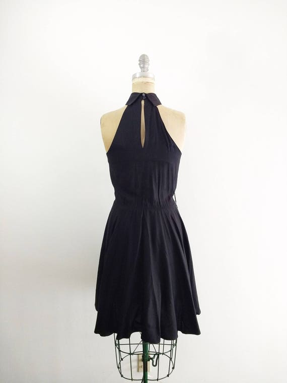 Vintage 1980s 1990s Black Halter Dress Halter Coc… - image 5