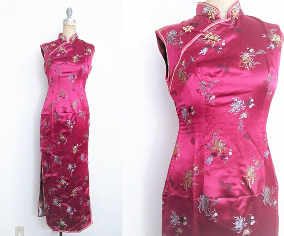 Vintage Red Chinese Dress Cheongsam Qipao Red Che… - image 1