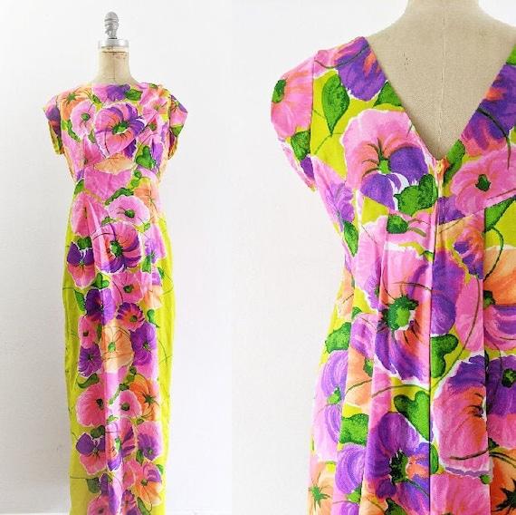 Vintage 1970s Floral Maxi Dress Waterfall Maxi Dre