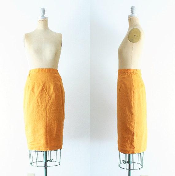 Vintage Mustard Yellow Pencil Skirt Mustard Pencil