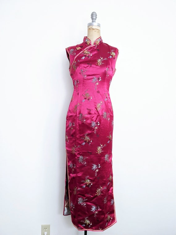 Vintage Red Chinese Dress Cheongsam Qipao Red Che… - image 2