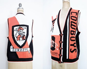 Vintage OSU Sweater Vintage Oklahoma State University Cowboys Sweater Vest OSU Knit Sweater Orange Black Pistol Pete Medium Large XL xxl