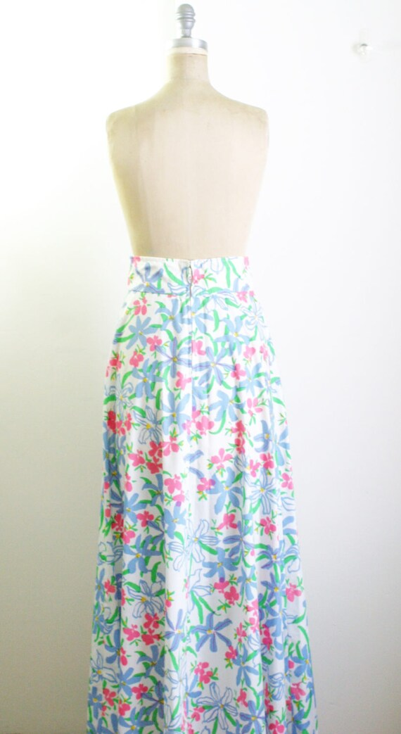 Vintage 1970s Floral Maxi Skirt 70s Skirt 70s Max… - image 5