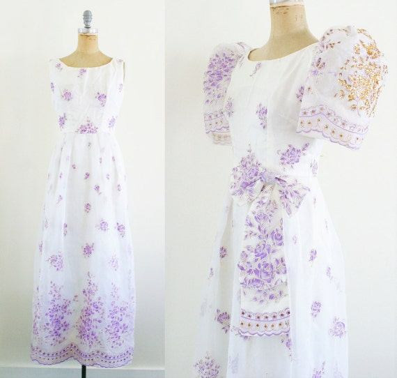 Vintage 1930s Gown 30s Dress Puff Sleeve Dress Pur