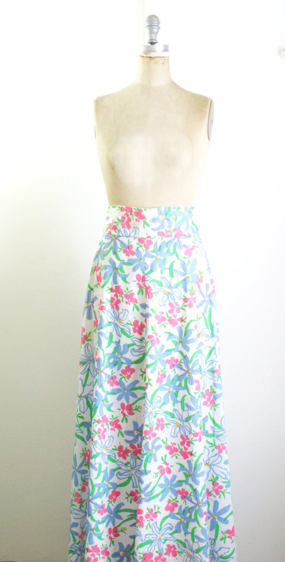 Vintage 1970s Floral Maxi Skirt 70s Skirt 70s Max… - image 3