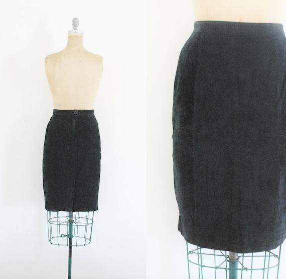 Vintage Black Suede Pencil Skirt Black Pencil Skir