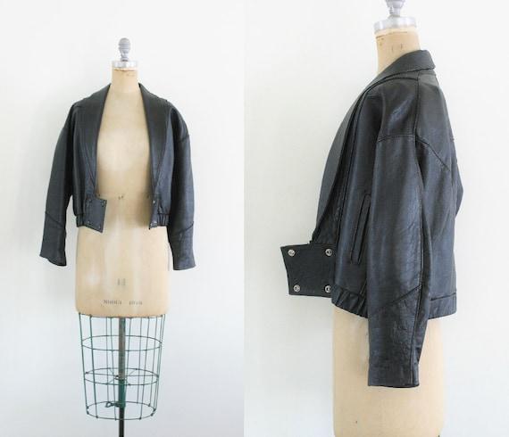Vintage Black Leather Jacket Leather Bomber Jacket