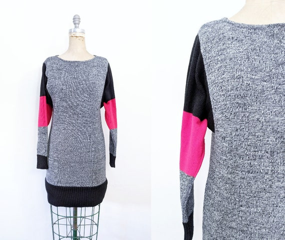 Vintage 1980s Sweater Dress Color Block Sweater Dr