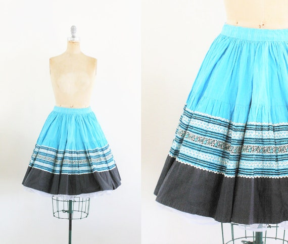 Vintage 1950s Blue Stripe Circle Skirt 50s Circle