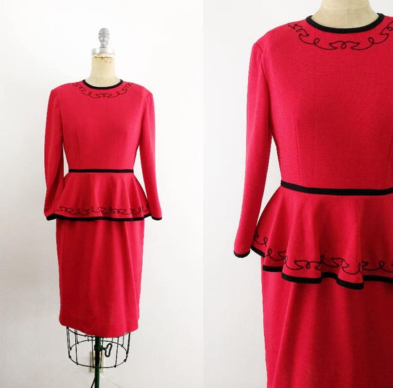 Vintage 1940s 1980s Red Peplum Dress Red and Black