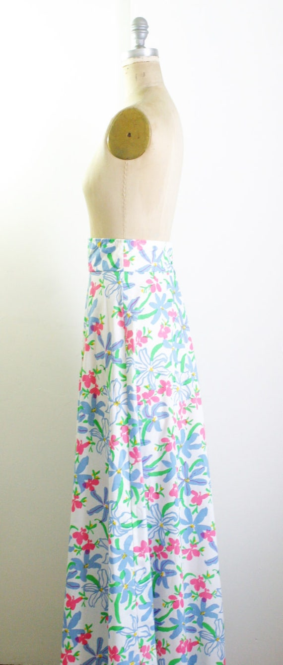 Vintage 1970s Floral Maxi Skirt 70s Skirt 70s Max… - image 4