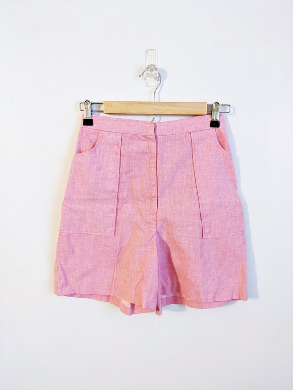 Vintage 1960s 1970s Pink High Waisted Shorts Pink