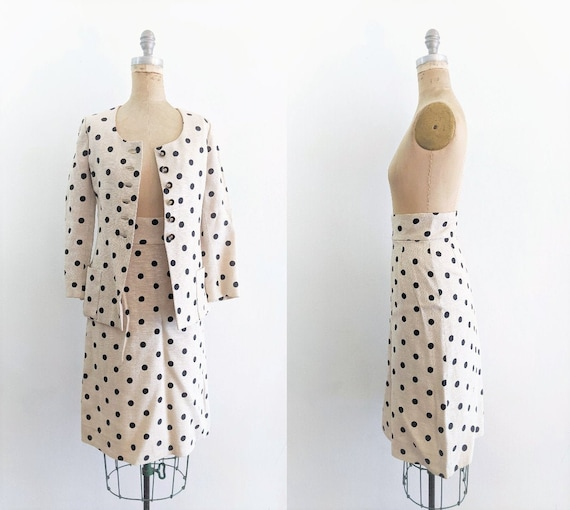 Vintage 1960s Skirt Suit 60s Polka Dot Skirt Suit