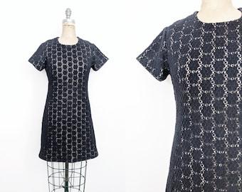 Vintage 1960s Crochet Lace Dress Navy Lace Dress 60s GoGo Dress 60s Mod Dress 60s Mini Dress 70s Mini Dress Blue Lace Dress Lace Mini XS 2 4