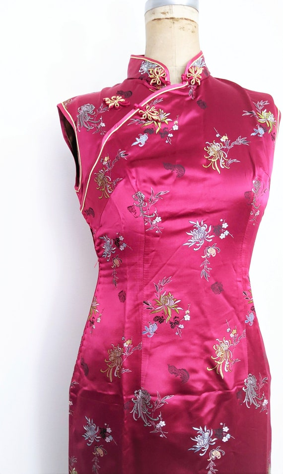Vintage Red Chinese Dress Cheongsam Qipao Red Che… - image 3