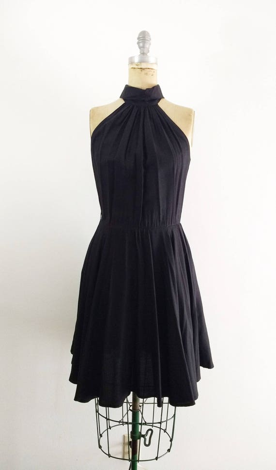 Vintage 1980s 1990s Black Halter Dress Halter Coc… - image 2