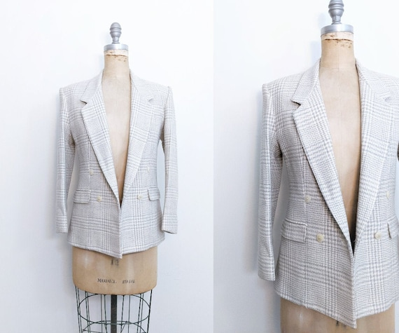 Vintage 1980s 80s Wool Plaid Blazer Boyfriend Blaz