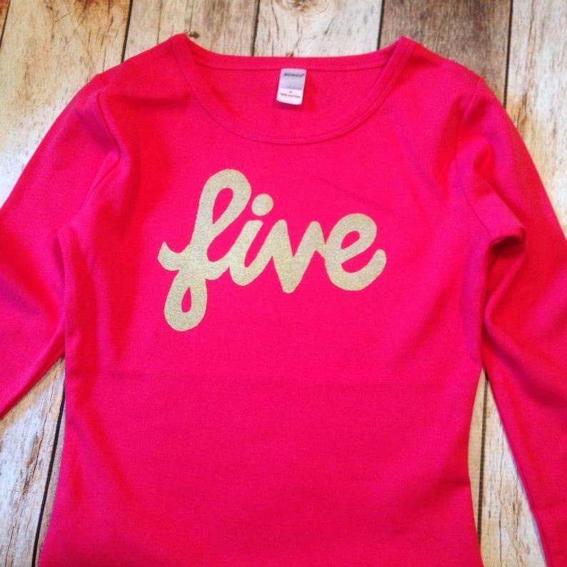 c0b33c95 Fuchsia Baby girl Gold glitter sparkle five girls birthday | Etsy